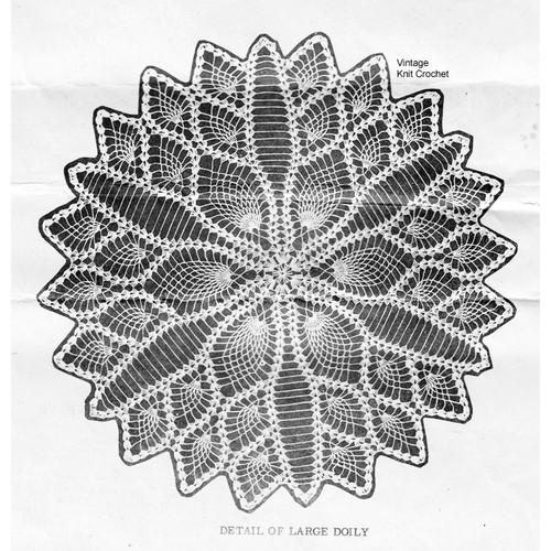 Crochet Detail of Pineapple Doily Pattern No 7530