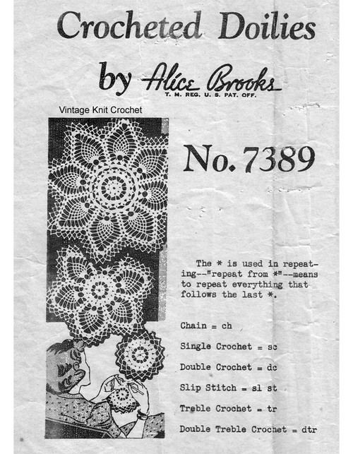 Mail Order Pineapple Crochet Doilies Pattern, Mail Order 7389