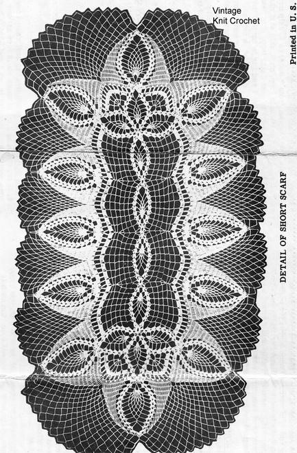 Pineapple Fan Crochet Scarf Pattern, Laura Wheeler 2934