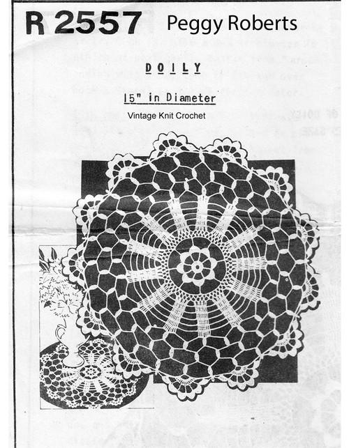 Vintage Crochet Wheel Doily Pattern, Mail order R-2557