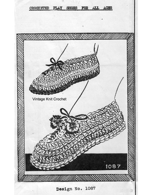 Mans Crochet House Shoes Pattern, Needlework Bureau 1087