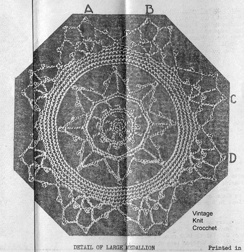 Crocheted Lace Medallion Pattern Stitch Illustration, Laura Wheeler 1676