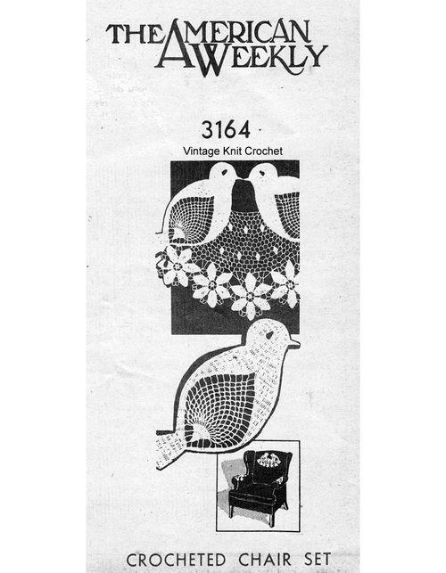 Crochet Bluebirds Chair Doily Pattern, Mail Order 3164.