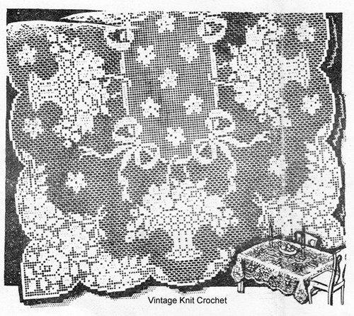 Rose Basket Cloth Filet Crochet Pattern, Laura Wheeler 2756