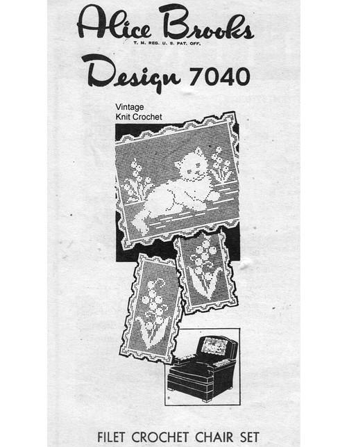 Filet Crocheted Kitten Pattern, Mail Order 7090