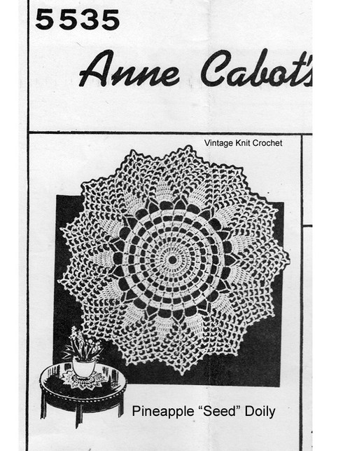 Crocheted Nubbly Pineapple Doily Pattern, Mail Order 5535