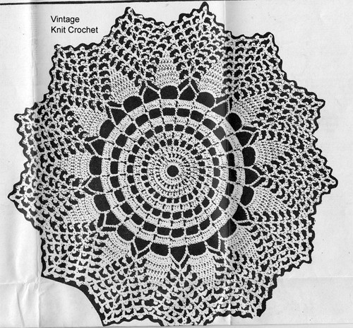 Medium Pineapple Doily Crochet Pattern, Anne Cabot 5535