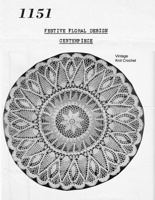 Crochet Floral Pineapple Doily Pattern, Mail Order 1151