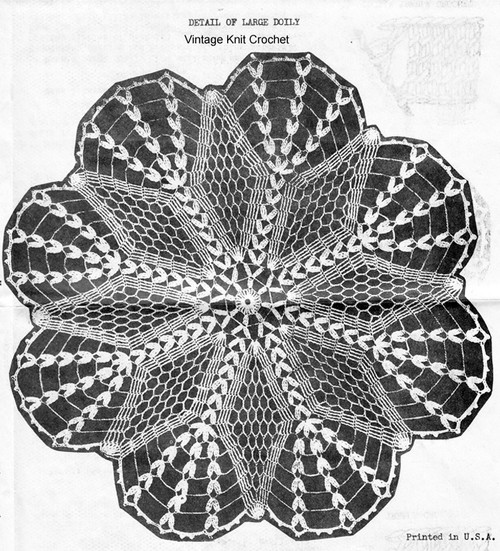 Star Doily Crochet Pattern Stitch Illustration, Alice Brooks 6114