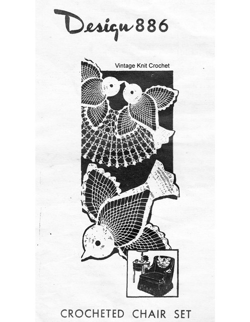 Mail Order Crochet Bluebirds Chair Doily Pattern, No 886