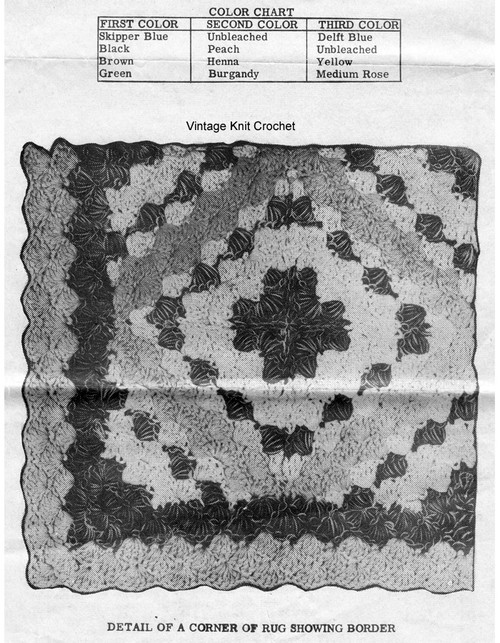 Easy Crochet Rug Pattern in Shell Stitch Illustration, Design 7023