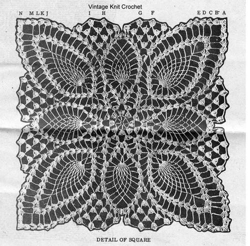Crochet Pineapple Star Pattern Stitch Illustration, Alice Brooks 7013