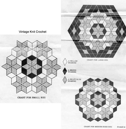 Vintage Crochet Round Rugs Pattern, Mail Order 7098