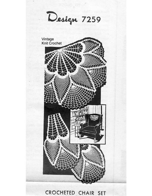 Vintage Crochet Pineapple Chair Doily Pattern, Alice Brooks 7259