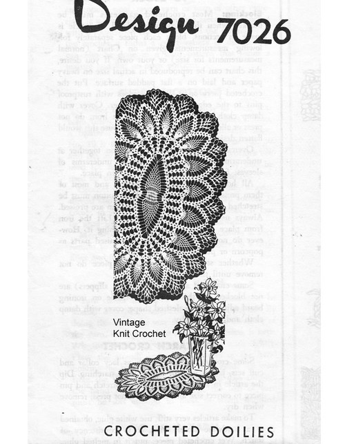Oval Crochet Pineapple Doily Pattern Design 7026