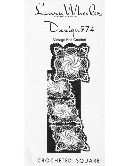 Large Crochet Pinwheel Square Pattern, Mail Order 974
