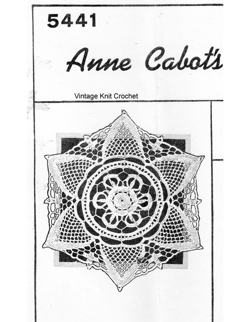 Crocheted Snowflake Doily no 6 Pattern, Anne Cabot 5441
