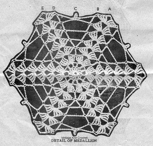 Crochet Medallion Pattern Stitch Illustration, Alice Brooks 7353