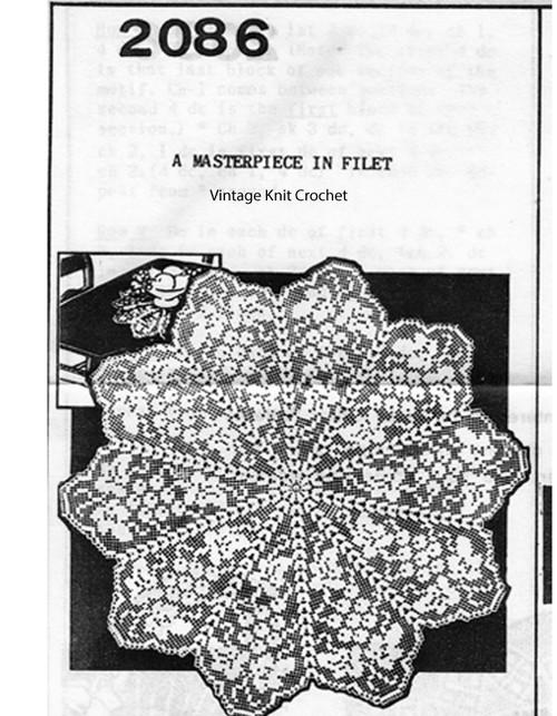 Crochet Centerpiece Floral Doily Pattern No 2086