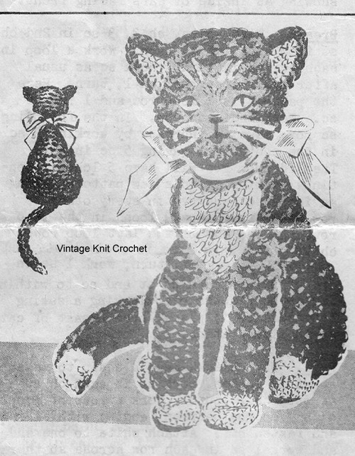 Crocheted Cat Toy Pattern in Wool Yarn, Anne Cabot 5653