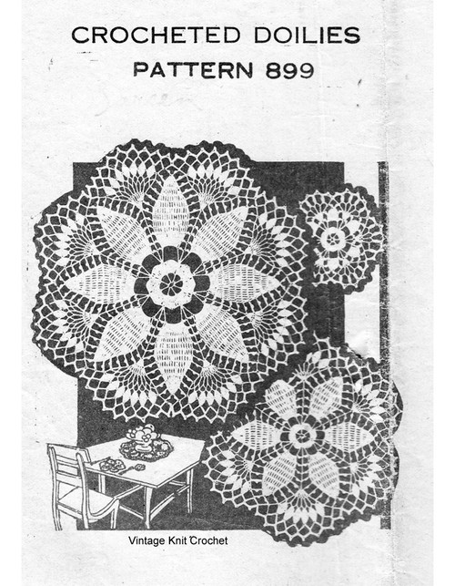 Pineapple Crochet Doilies, Luncheon Set, Mail Order 899