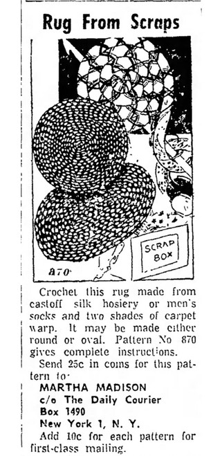 Crochet Rug Advertisement, Martha Madison 870