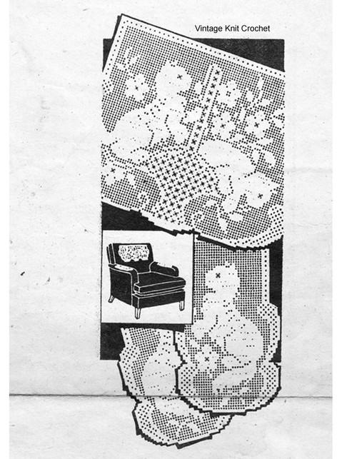 Filet Crochet Pattern, two kittens in basket, Mail Order 3152