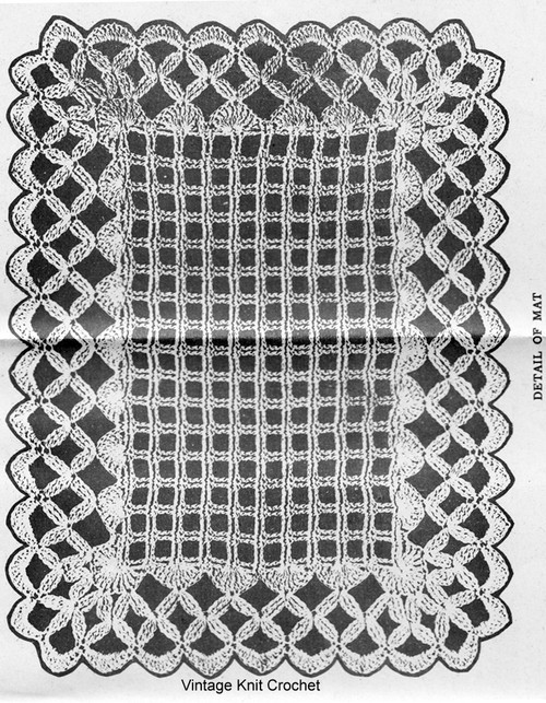 Vintage Mesh Crocheted Mats Pattern Design 957