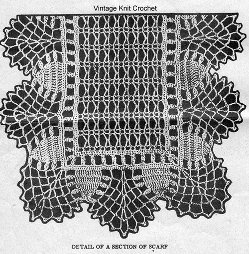 Crochet Scarf Pattern Stitch Detail, Alice Brooks 7190