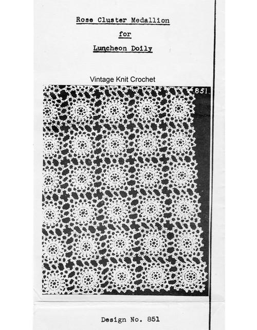 Rose Cluster Medallion Crochet Pattern, Mail Order 851