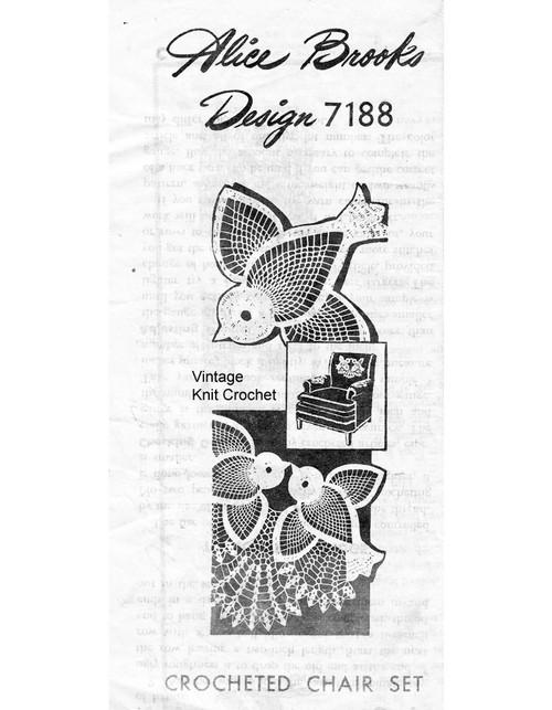 Crochet Birds Chair Doily Pattern Set, Mail Order 7188
