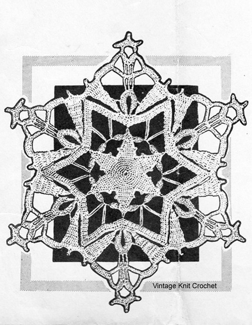 Vintage Snowflake Doily Pattern, 9 inches, Anne Cabot 5351