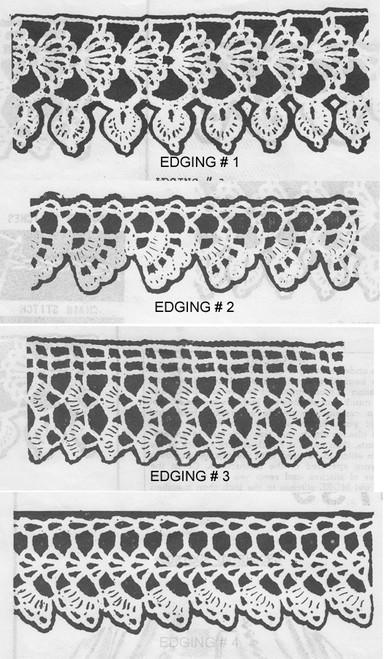 Four Crochet Edgings Pattern, Anne Cabot 5739