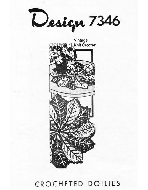 Crochet Leaf Doilies Pattern, Alice Brooks 7346