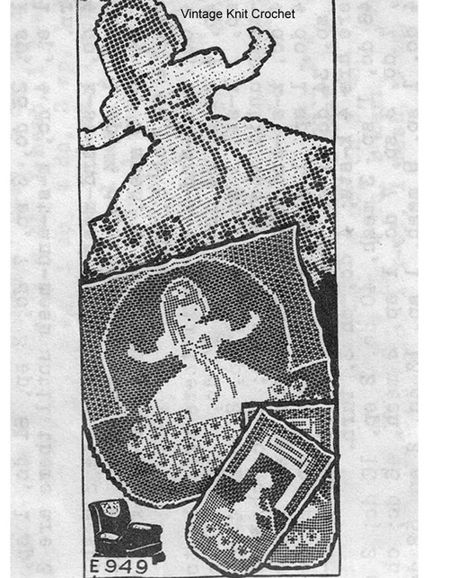 Filet Crochet Cinderella Chair Doily Pattern, Mail Order E-949