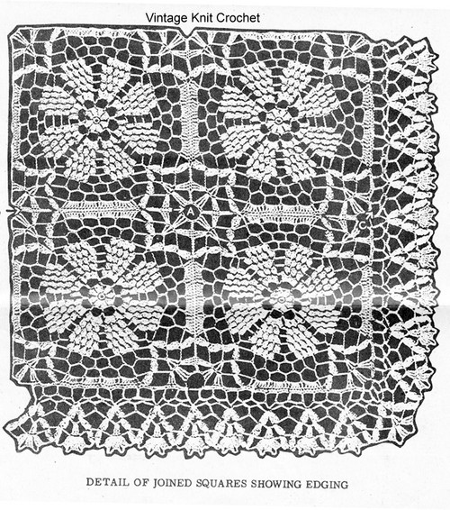 Crochet Flower Squares, Tablecloth Bedspreads, Alice Brooks 7667
