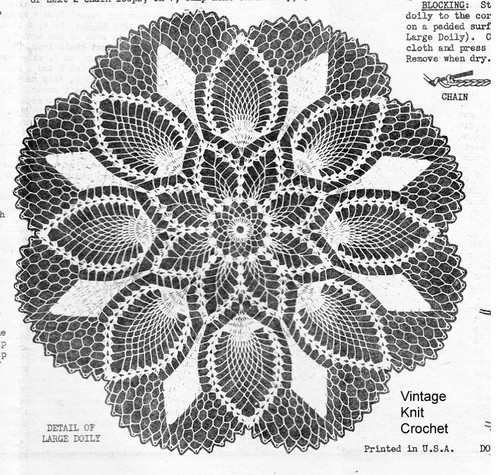 Pineapple Flower Crochet Doilies Pattern, 9 sizes, Mail Order 809