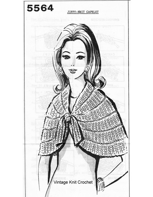 Easy Knitted Capelet Pattern, Mail Order 5564