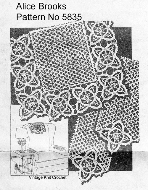 Vintage Crochet Chair Set Pattern, Mesh Flowers, Mail Order 5835