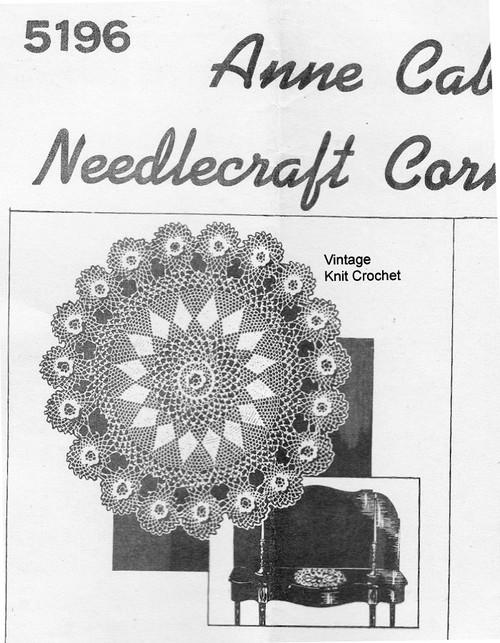 Rose Medallion Crochet Doily Pattern, Anne Cabot 5196