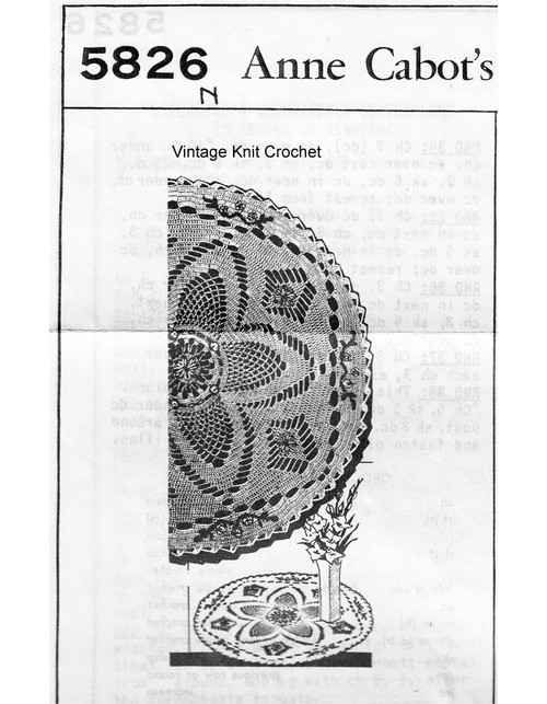Crochet Pineapple Embroidered Doily Pattern, Mail Order 5826