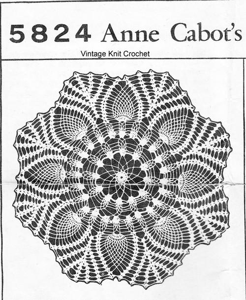 Pineapple Centerpiece Doily Crochet Pattern Mail Order 5824