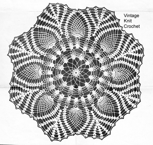 Vintage Pineapple Crocheted Doily Pattern Anne Cabot 5824