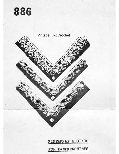 Handkerchief Crochet Edgings Pattern, Mail Order 886