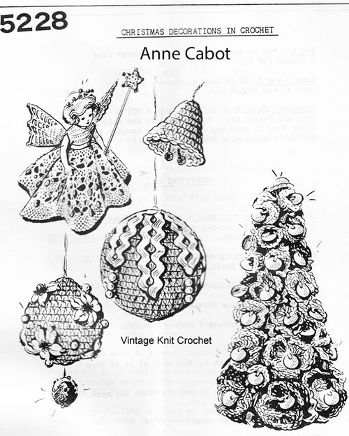 Crochet Christmas Ornaments Pattern, Mail Order 5228