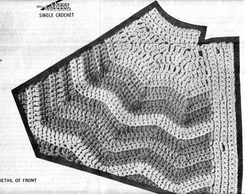 Ripple Poncho Crochet Pattern Illustration, Mail Order 745