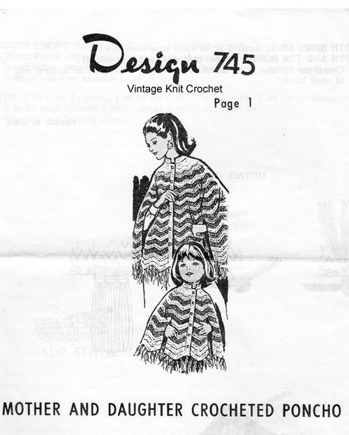 Misses Childs Crochet Ripple Poncho Pattern Design 745