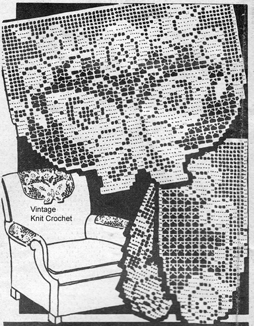 Butterfly in Filet Crochet with Roses, American Weekly 3697