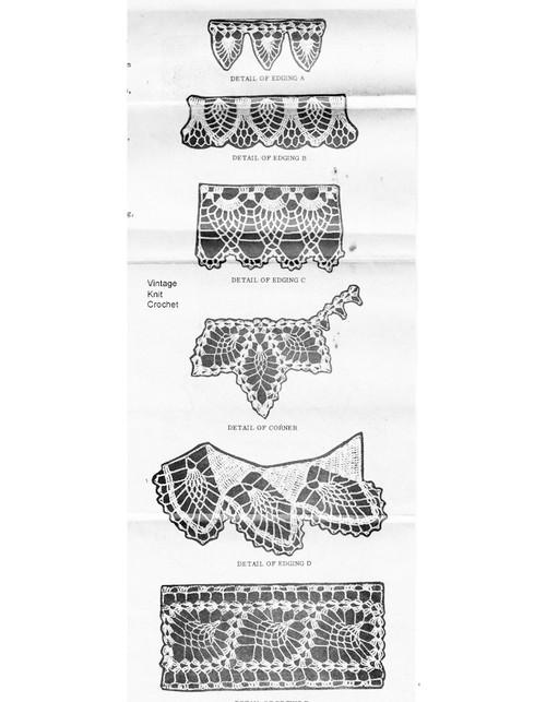Pineapple Edging Crochet Pattern Illustration, Laura Wheeler 989