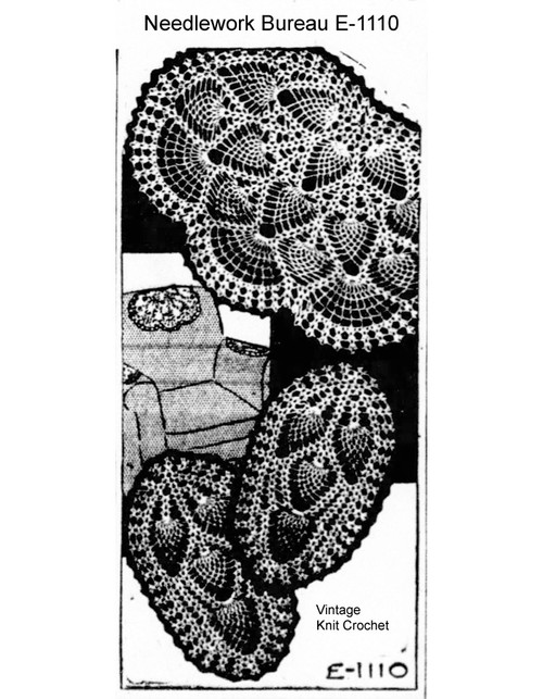 Vintage Pineapple Fan Chair Set Pattern, Mail Order E-1110